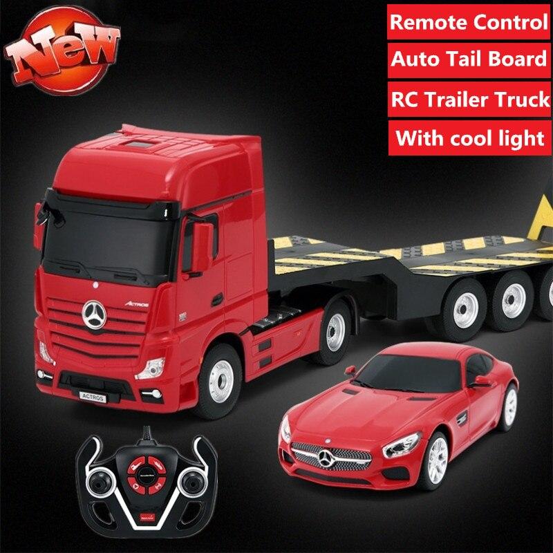 Camión con mando a distancia, camión con plataforma de excavadora RC, remolque con plataforma para coche, camión con 1 Juego de 2 uds., pala grande de 50cm