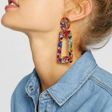 2019 Fashion Tortoise Color Clip on Earrings Leopard Acrylic Long Geometric Square Circle Without Pi