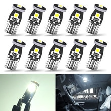 10Pcs T10 LED Lights 3030 SMD W5W Bulb Canbus No Error Car Interior Lighting Automotive Dome Lamp Wh
