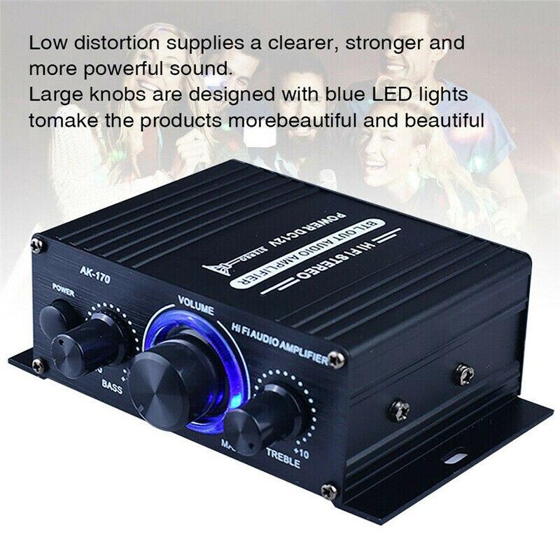 AK170 HIFI estéreo Digital Amplificador de potencia de Audio 400W 12V FM...