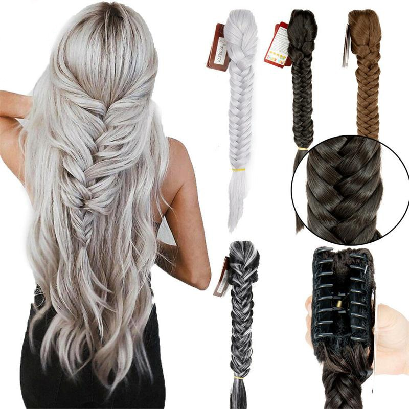 1pcs Long Fishtail Braid Ponytail Synthetic Extension Clip In Ponytail Fishtail Plait Hairpieces with A Jaw/Claw Clip