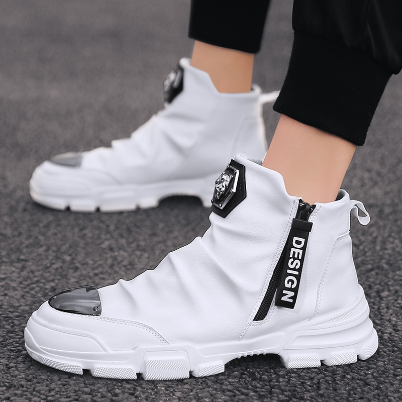 2020 New Spring Autumn Men's Bright Personality High-top Casual Shoes British Style Tide Brand Desig
