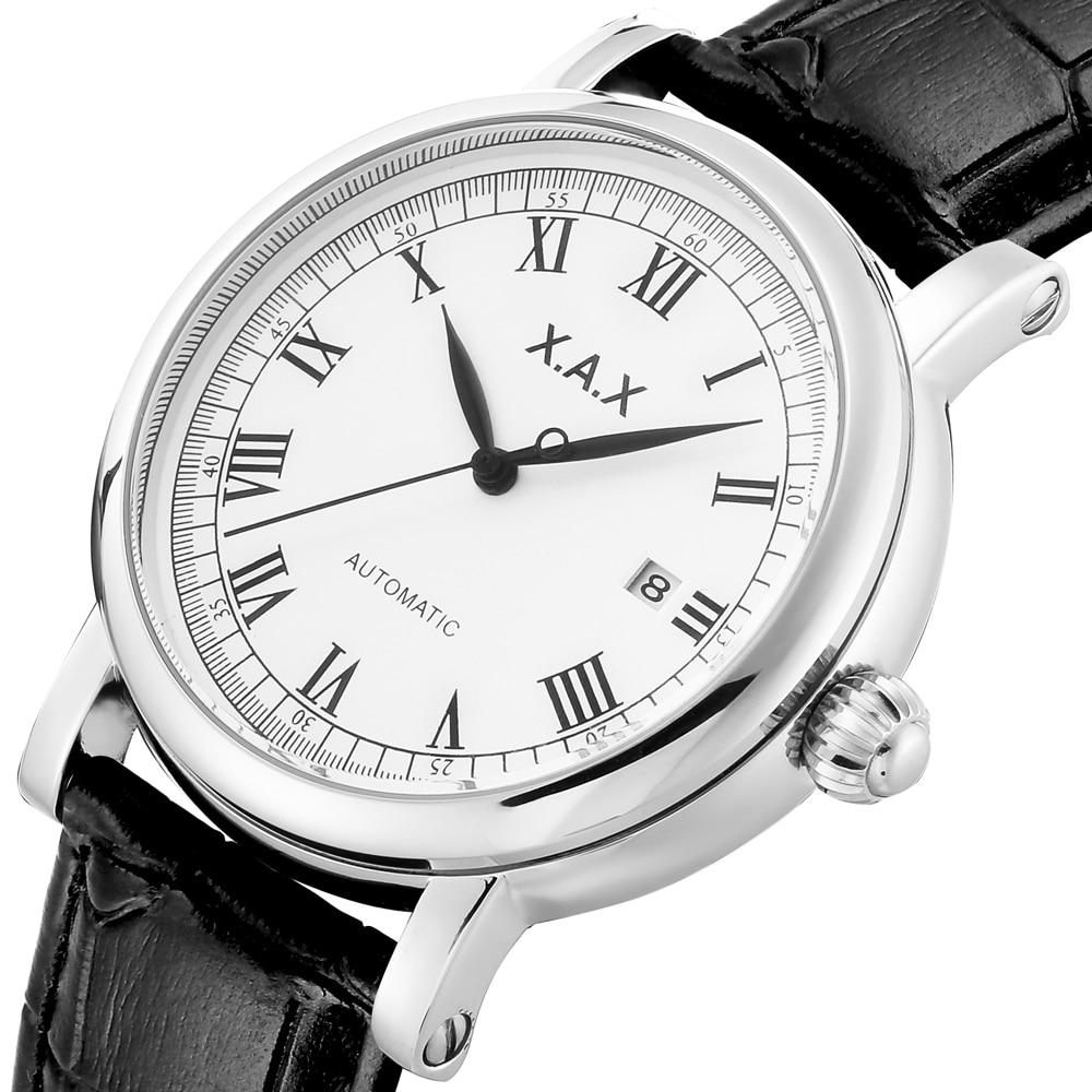 ساعات أوتوماتيكية وجه كبير الأرقام الرومانية الطلب الفولاذ المقاوم للصدأ ساعة اليد رجل مقاوم للماء السيارات الذاتي الرياح Relogio Masculino