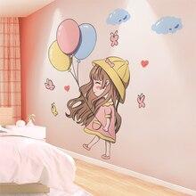 Pegatinas de decoración de pared para cabecera, diseño de habitación de niñas, decoraciones de pared, pegatinas de pared del dormitorio de princesa, pegatinas de pared para habitación de niños