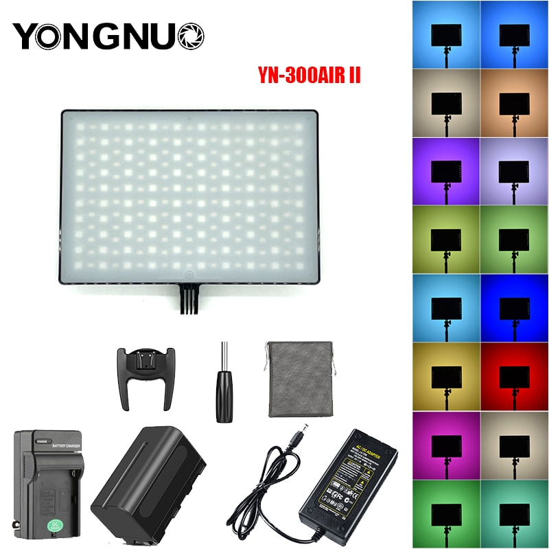 YONGNUO-مصباح كاميرا فيديو LED YN300AIR II RGB ، بطارية اختيارية مع شاحن ومحول تيار متردد
