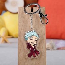 Anime les sept péchés capitaux porte-clés Figure de dessin animé Meliodas Elizabeth Hawk Ban acrylique pendentif porte-clés