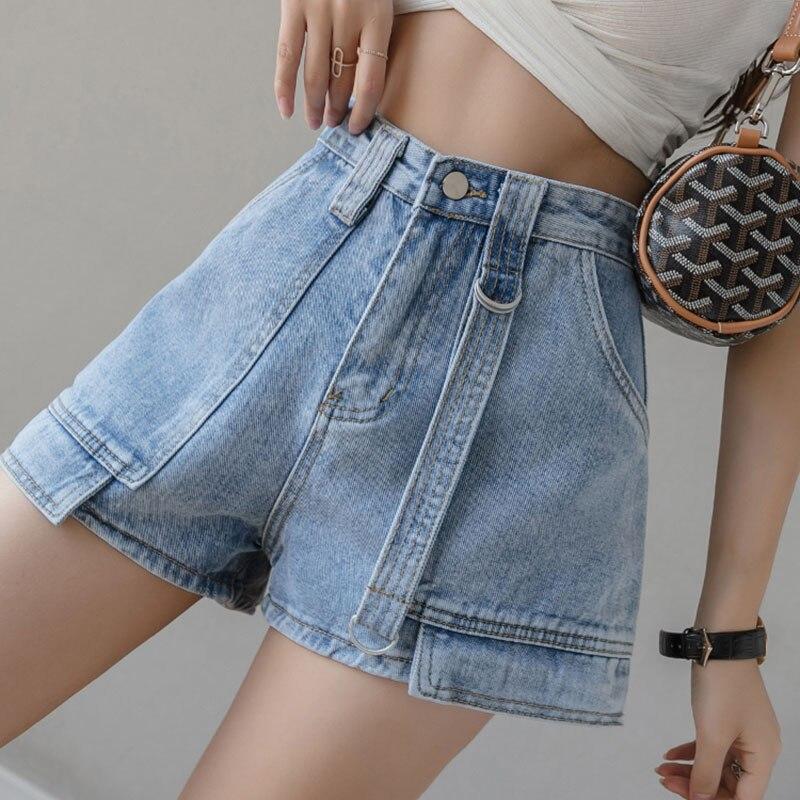 High Waist Shorts Blue Wide Leg Casual 2021 Feans Feminino  Korean Fashion Summer Loose Solid  Denim Comfy Cute Shorts Femme