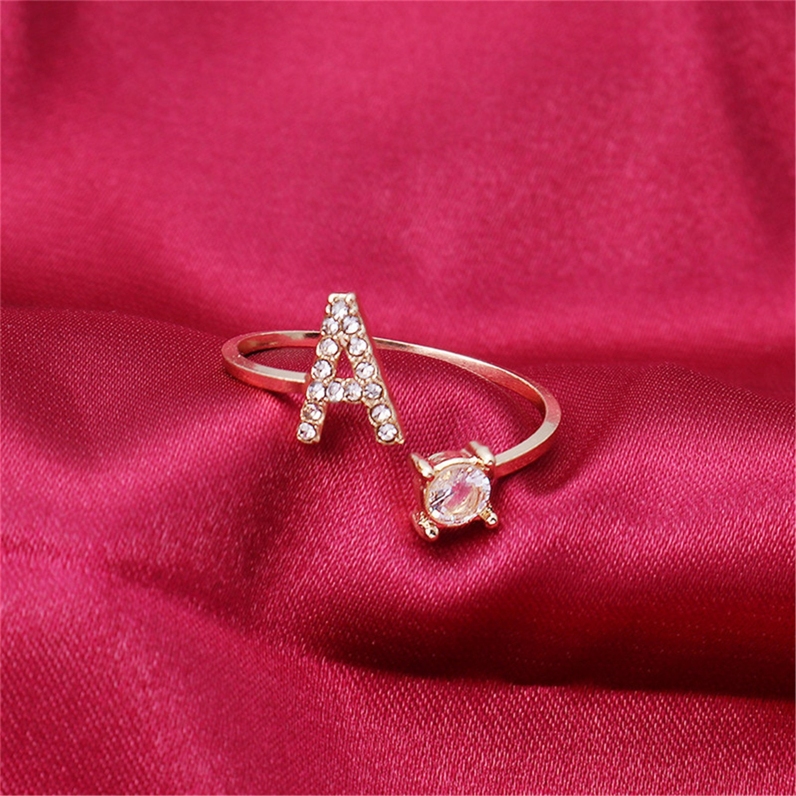 Anillos para mujer estilo alfabeto inglés, anillo ajustable con letras, moda de...