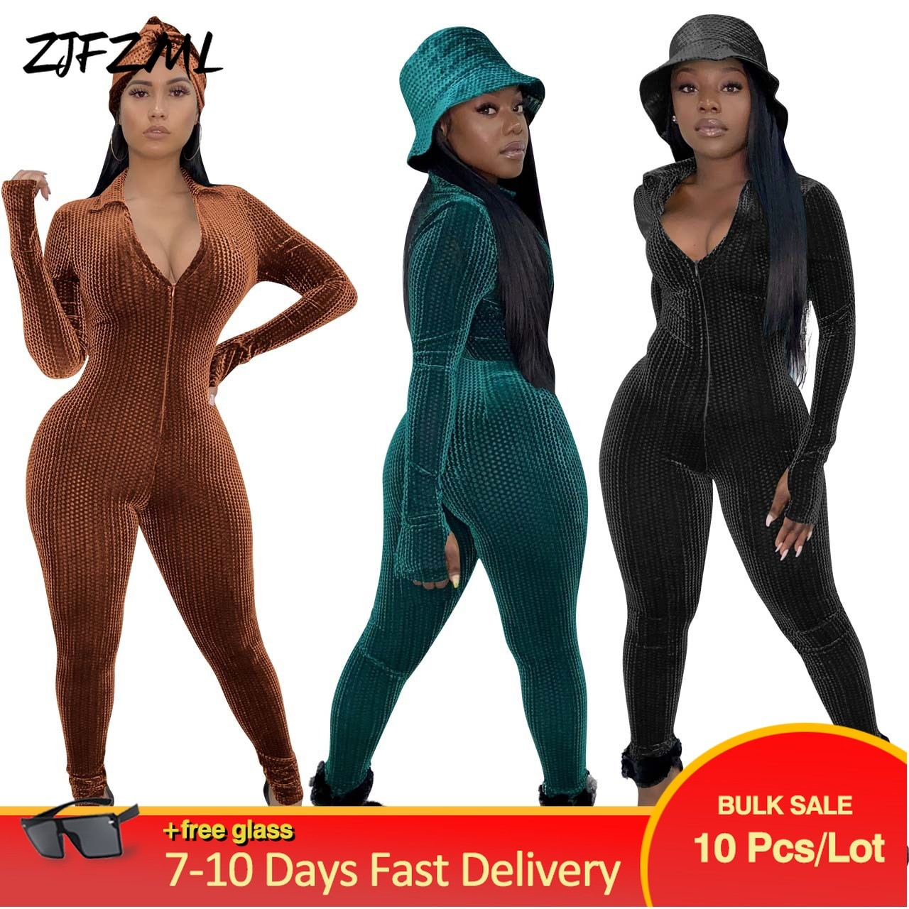Bulk Wholesale Items Lots Velvet One Piece Club Overall for Women Retro Deep V Neck Long Sleeve Romper Sexy Zipper Skinny Outfit