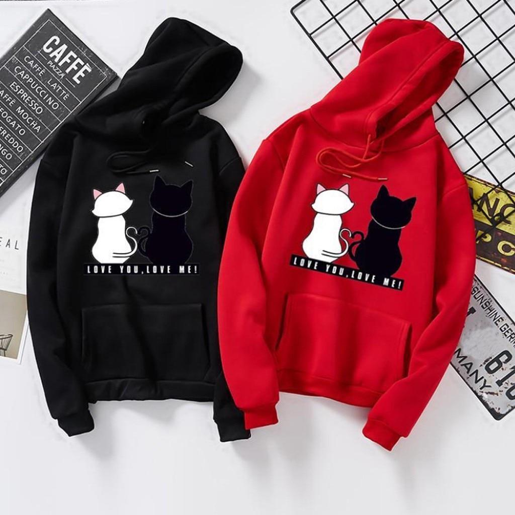 Übergroßen Sweatshirt Frauen Tops Hoodie Warme Streetwear Rot Schwarz Gary Frauen Hoody Druck Katze Harajuku Damen Kleidung