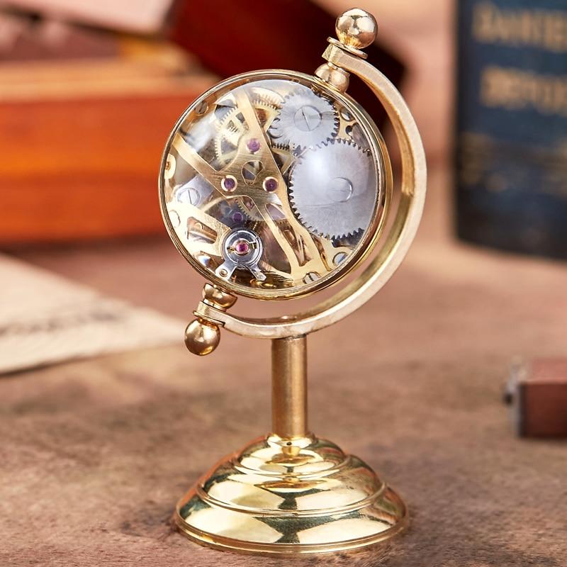 جديد وصول الغزل غلوب ساعة مكتب الذهب الرجال الإبداعية هدية ل ساعة جيب ساعة الطاولة النحاس الميكانيكية ساعة جيب الذكور