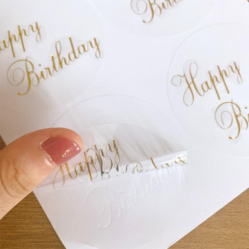 60pcs/lot Transparent round gilding happy birthday sealer sticker Student Diary Label Cartoon Diy Decoration Scrapbook недорого