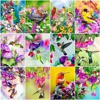 HUACAN peinture par numeros oiseau Animal peint a la main cadeau Unique bricolage photos par numero fleur Kits decoration de la maison