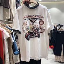Женская футболка с коротким рукавом и кружевным воротником, Свободный Топ с принтом в Корейском стиле, в стиле пэчворк, весна-лето 2021