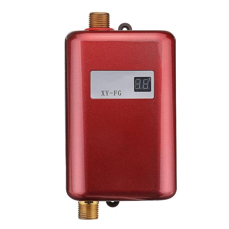 Calentador de agua caliente instantáneo, Mini, eléctrico, sin depósito, 3800W, pantalla de temperatura, calentador de ducha Universal, enchufe europeo