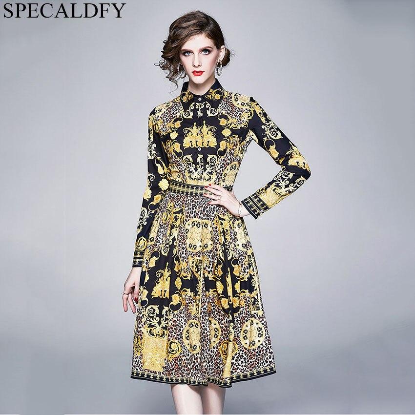 Primavera Vintage vestido estilo barroco diseñador vestidos de pasarela 2020 mujeres de manga larga estampado Midi-pantorrilla camisa vestido damas Robe Femme