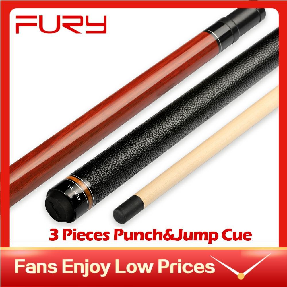 Fury fbj t/k bilhar 3 peças punch & jump cue vara 13.7mm ponta envoltório do plutônio billar break & salto cue com casos
