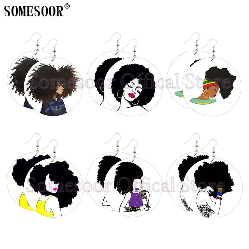 SOMESOOR Amazing Black Hair Art Printing Wood Drop Earrings Large Curly Afro Lady Designs African Wood Hoops For Women Gifts