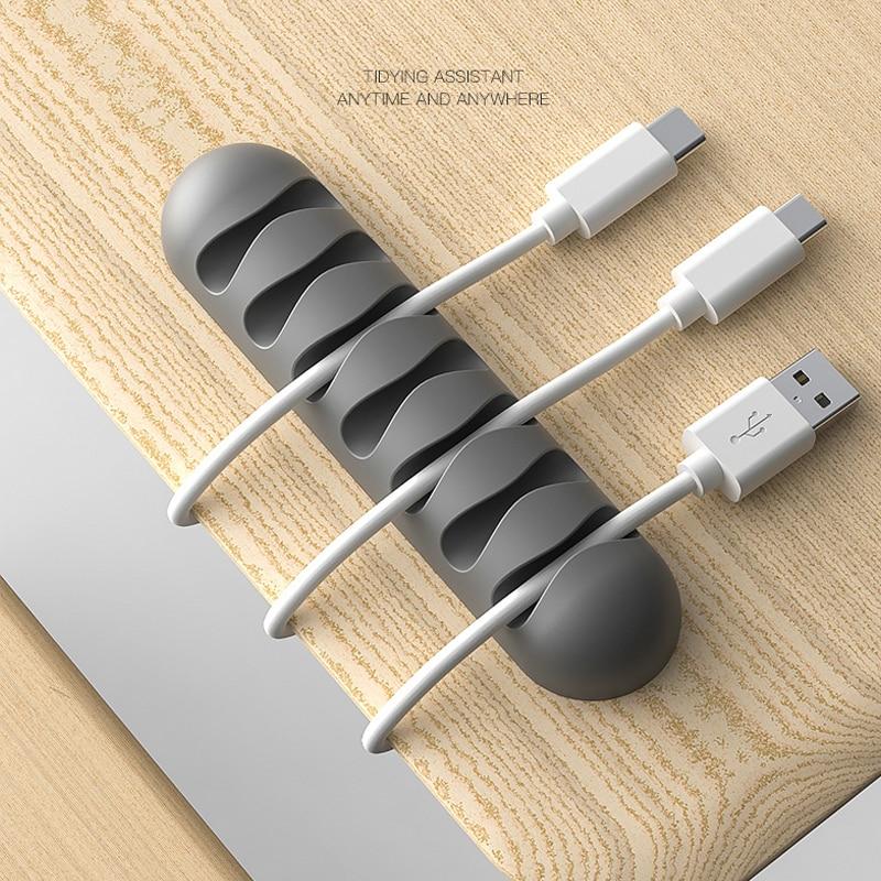 חכם כבל מחזיק סיליקון גמיש כבל המותח חוט ארגונית מחזיק כבל ניהול קליפ עבור USB אוזניות כבל רשת