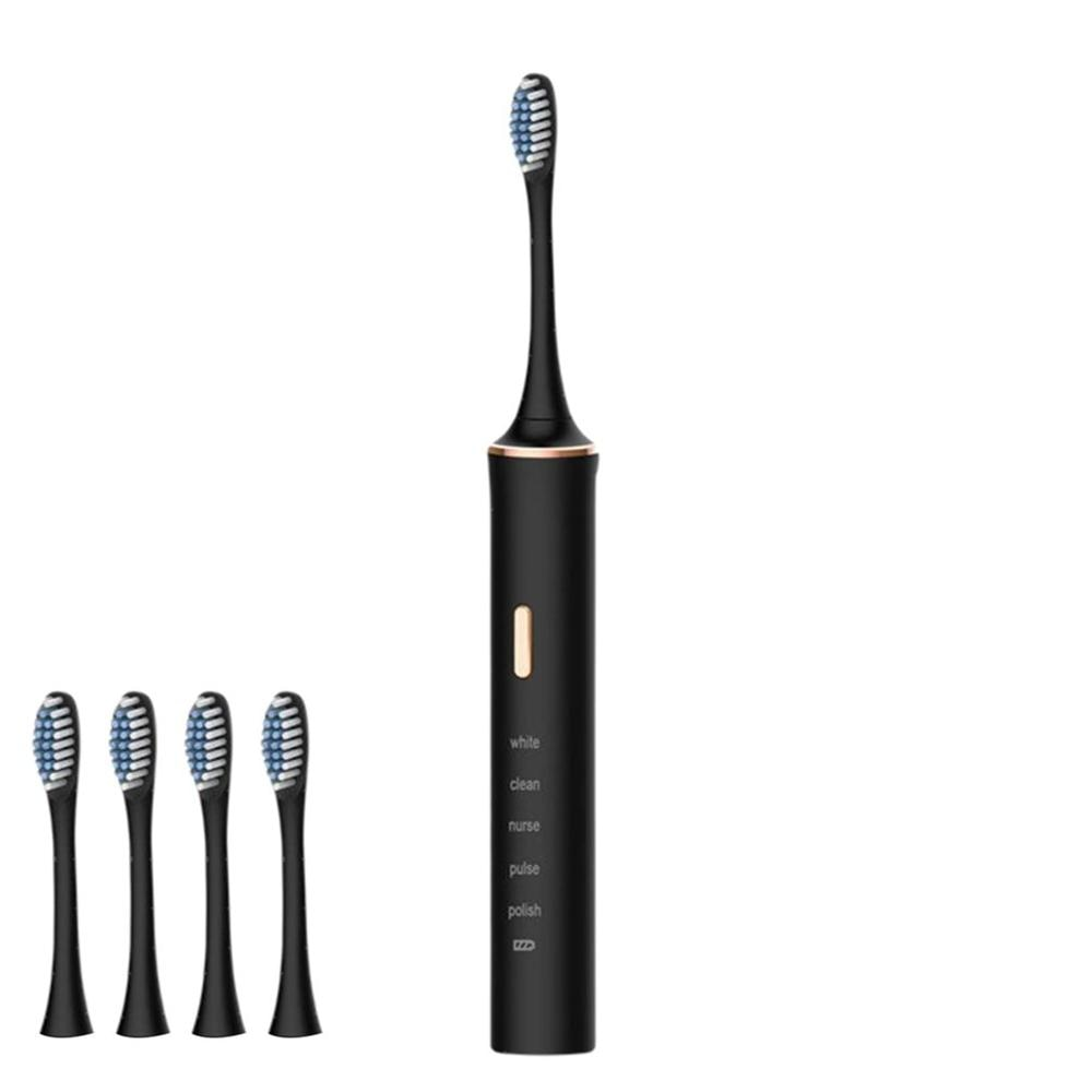 Electric Toothbrush Adult Timer Sonic Teeth Cleaning Brush 5 Mode USB Rechargeable Tooth Brushes With 4 Replacement Heads sonic electric toothbrush cd5166 adult timer teeth whitening brush 15mode usb rechargeable tooth brushes replacement heads gift