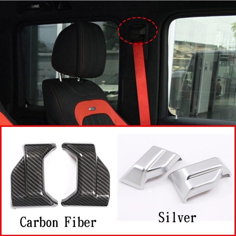 ABS Chrome/Carbon Fiber For Mercedes benz G Class W463 G500 2019-2020 Seat Safety Belt Cover Trim Interior Car Accessories