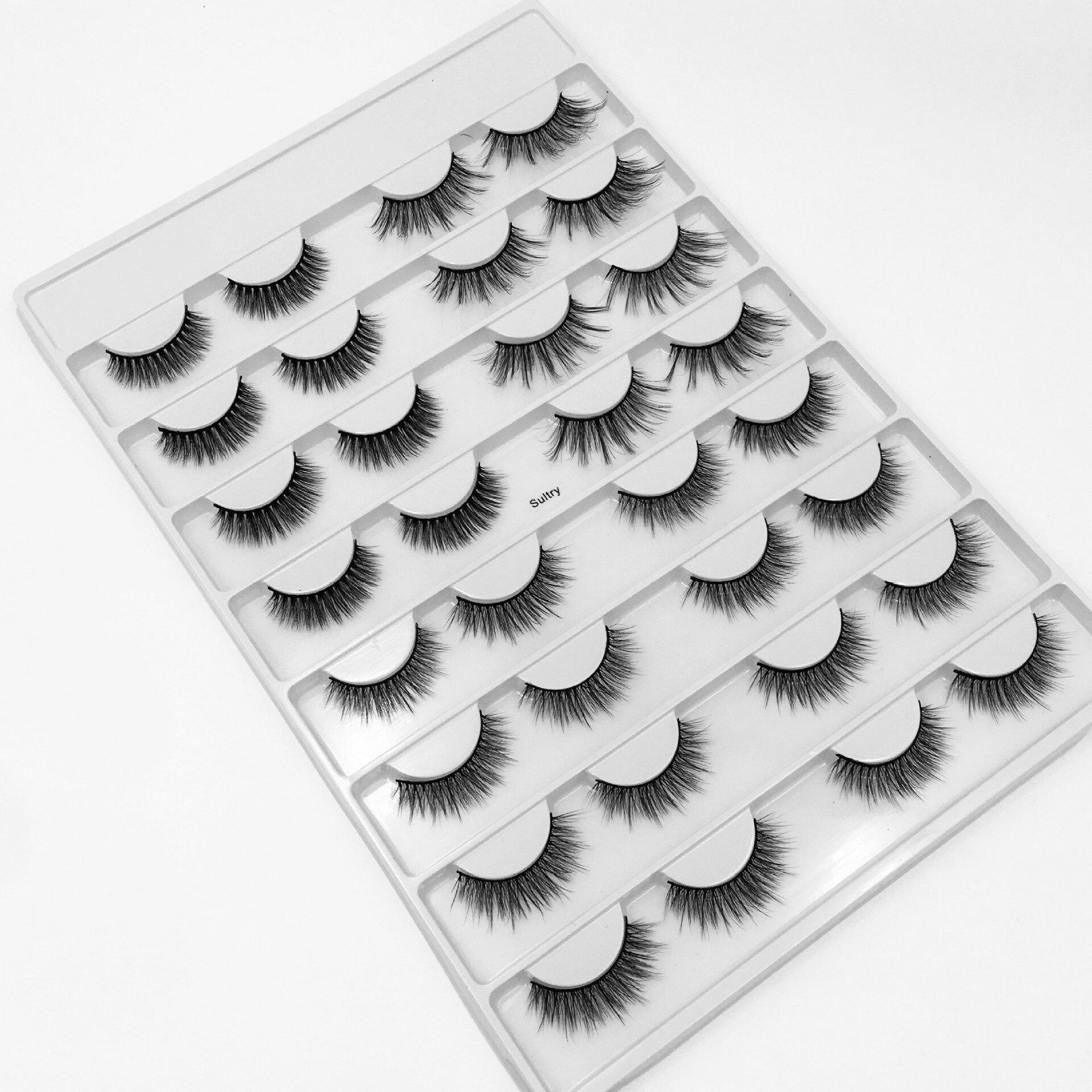 Handmade reusable mink false eyelashes 16 pairs set natural long thick fake lashes mink fur hair 50sets/lot DHL Free