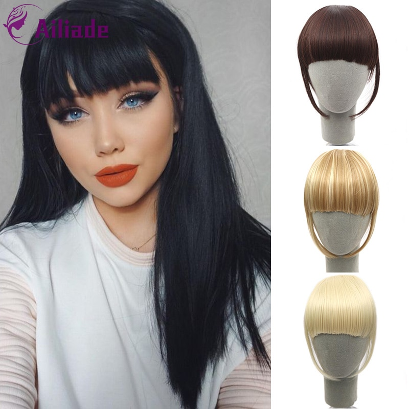 AILIADE Clip en flequillo postizo de pelo sintético, flequillo falso, pieza de cabello, Clip en extensiones de cabello, flequillo Romo en flequillo negro
