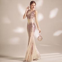 Partysix New Summer Sexy O-neck Long Sequin Evening Dresses Women Sleeveless Party Dress