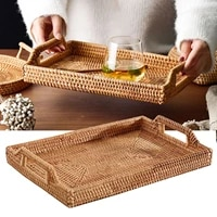 service basket hand braid bread tray rattan fruit rectangular 34x24x6cm vegetable bowl kitchen home woven food portable storage