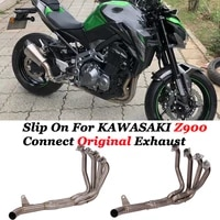slip on for kawasaki z900 2017 2020 full system motorcycle exhaust escape modify connect front mid link pipe on original exhaust