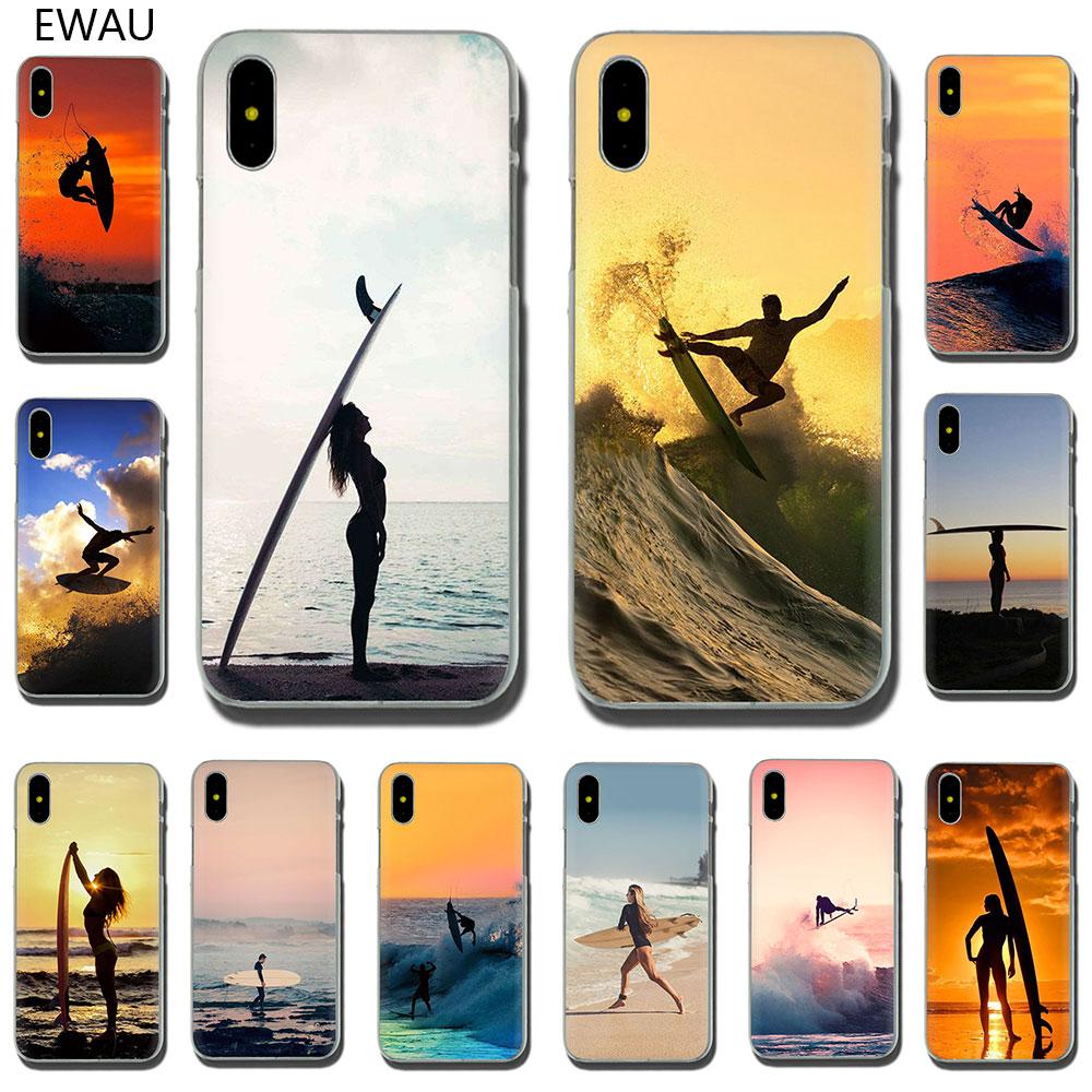 Funda de teléfono dura EWAU Sea wave surf, verano, surf, Océano, funda para iPhone SE 2020 11 Pro 6 6S Plus 7 8 Plus X XS XR XS Max