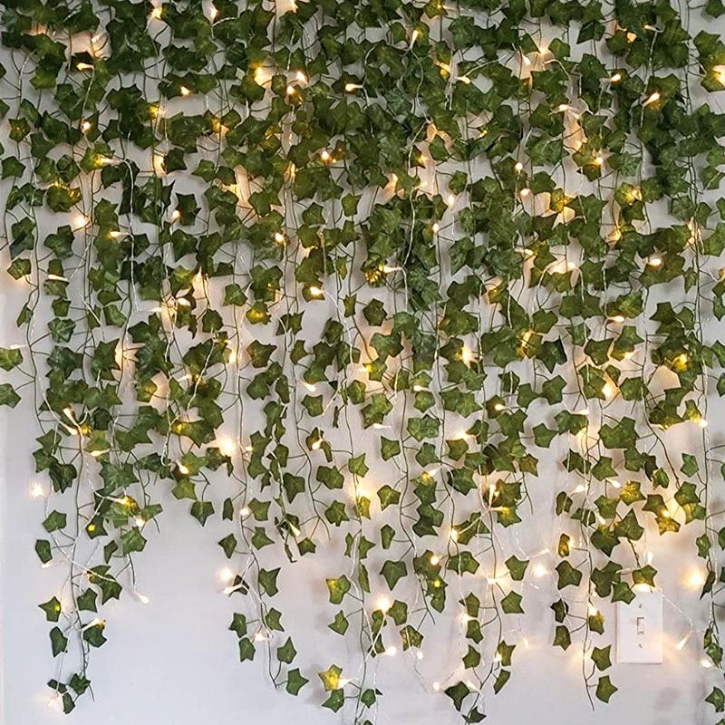 AliExpress - 2.3m Artificial Creeper Green Leaf Ivy Vine with 2m LED String Lights DIY LED Leaf Garland For Wedding Party Decorative Light