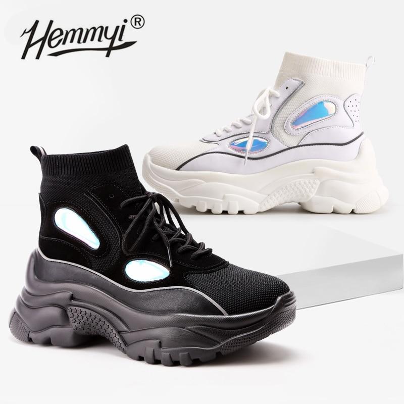 Hemmyi جديد عصري أحذية امرأة عالية أعلى أحذية رياضية النساء أحذية منصة حذاء من الجلد سلة فام لامع مكتنز جورب الأحذية