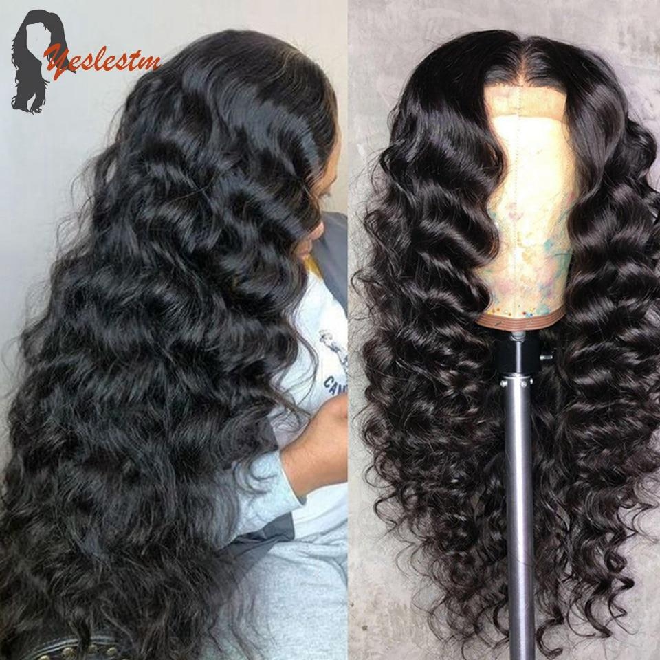 Yeslestm Loose Deep Wave Frontal Wig Human Hair Remy Deep Wave Frontal Wig Brazilian Natural Black H