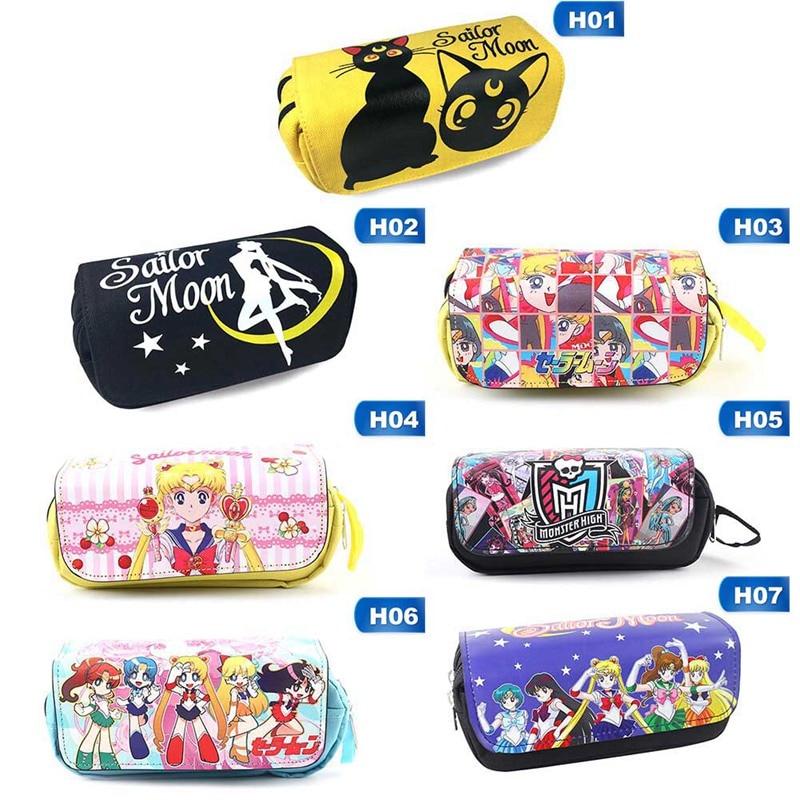 Sailor Moon Tsukino Usagi Mizuno Ami Mars Anime Action Figure Printed PU Girls Canvas Pen Pencil Cosmetic Cases Purse Zipper Bag