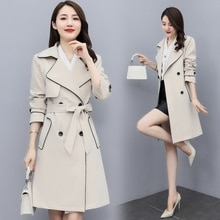 2021 Autumn Korean Fashion Pure Color Double Breasted Lacing Mid-Length Trench Coat