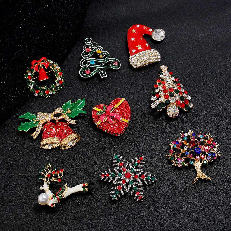 Christmas Tree Brooches For Women Rhinestone Xmas Tree Brooch Gift Fashion Jewelry Festival Brooch Winter Coat Cap Brooches imitation pearls christmas tree brooch pin women fashion rhinestone brooches xmas new year gift