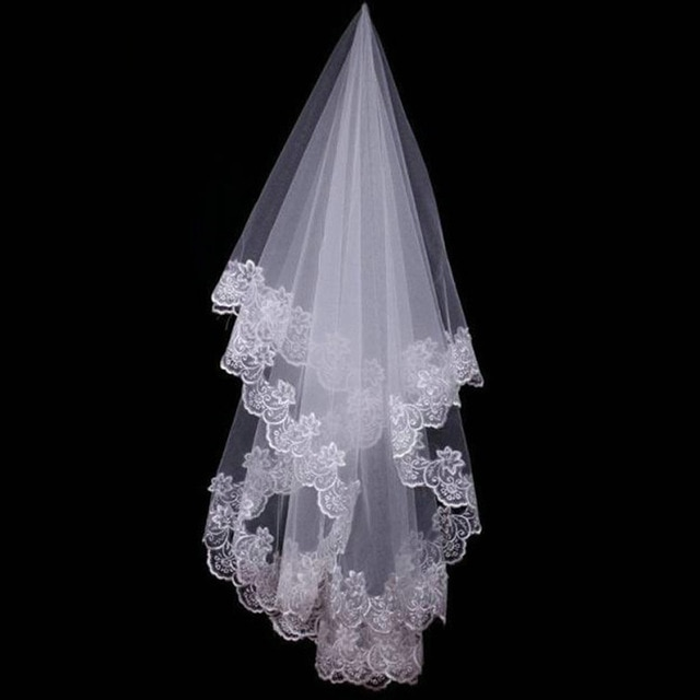 Women 120CM One Layer Lace Edge Wedding Veil Ivory Long Bridal Viel Wedding & Events Bridal Hair Accessories