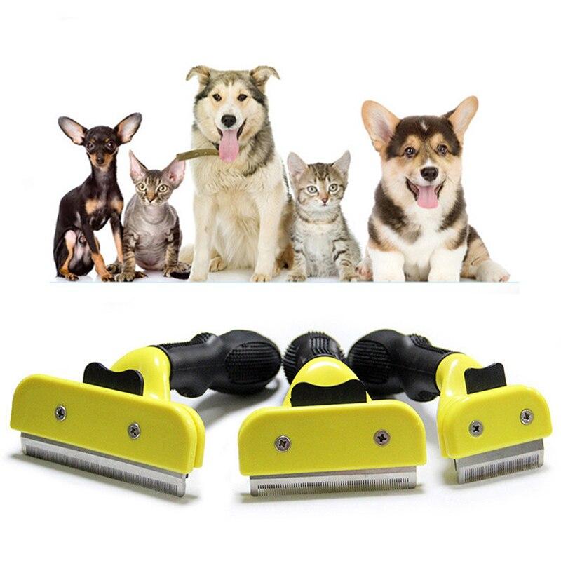 S M LYellow щетка для волос для собак и кошек, маленькая расческа для груминга животных, щётка для чистки меха, инструменты для стрижки волос
