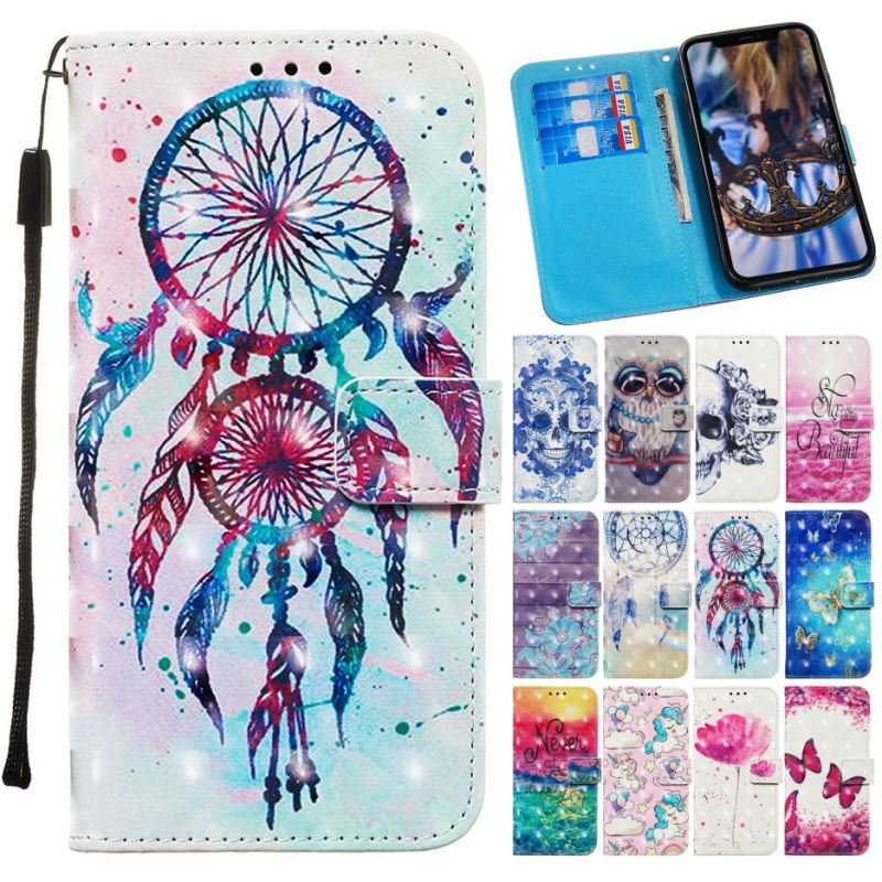 Kid Nette Telefon Brieftasche Für Huawei Mate 20 Lite 10 Pro Ehre 8X Genießen Max 7S 7 Mädchen Flip leder Fall Pony Eule Windspiele O03E