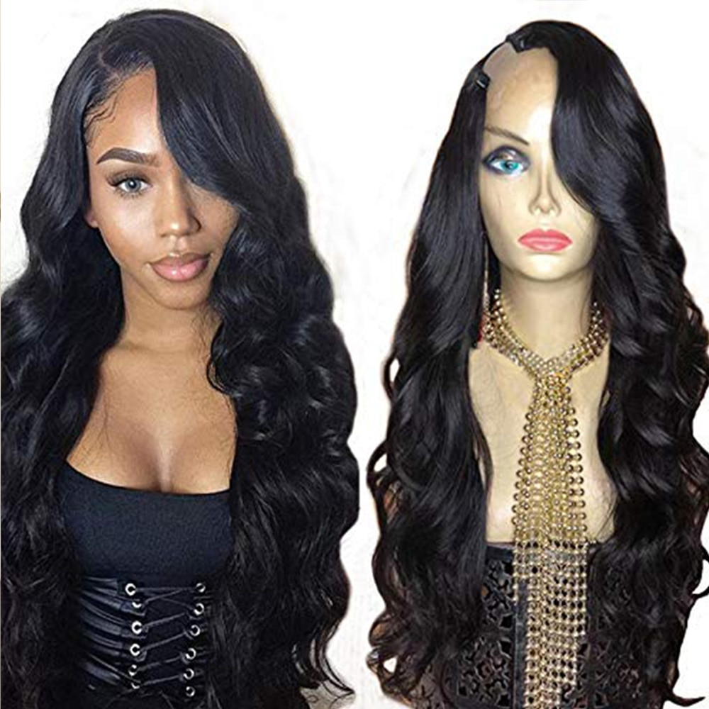 Eversilky Unprocessed Brazilian U 250 Density Glueless Body Wave 100% Human Hair Wigs 1x4 Right U Part Wigs For Women Wavy Wig