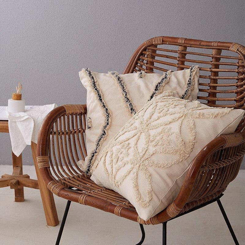Rétro Beige housse de coussin 45*45/30*50 oreiller couvre décoratif à la main carré décoration de la maison salon taie doreiller fermeture éclair ouvert