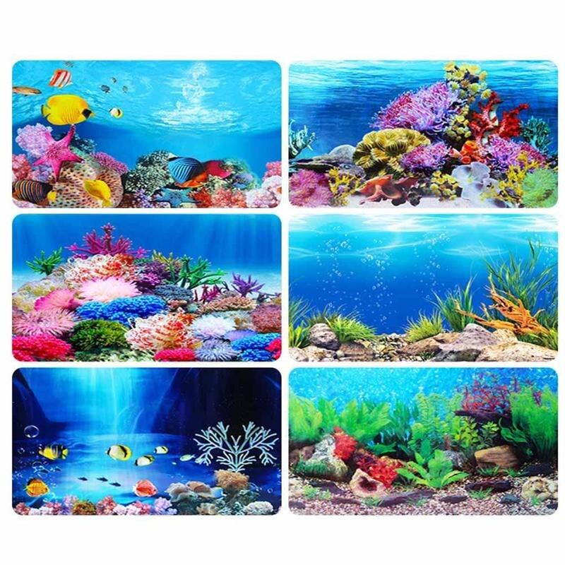 Ezlife 1 pieza de póster de paisaje oceánico peces fondo para tanque fondo decorativo peces pintura 3d Fondo acuario I6H6