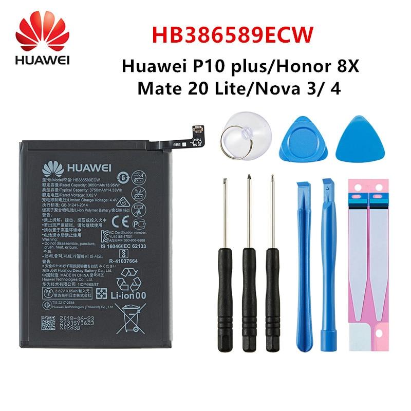 Hua Wei 100% original HB386589ECW 3750mAh batería para Huawei V10 P10 más Honor juego Honor 20 Honor 8X jugar Nova 3 Mate20 + herramientas