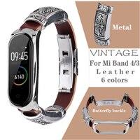 Ремешок для xiaomi Mi Band 4 3, винтажный кожаный браслет-петля для Mi Band 3 4, Аксессуары для браслета Mi Band 3