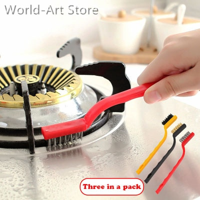 Japanese Gas Stove Cleaning Brush 3 Kitchen Supplies Kitchen Ventilator Stove Cleaning Tool Steel Wire Small Brush