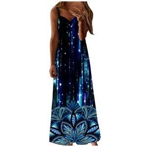 Dresses Luminous Loose Print Sleeveless Casual Vest Long Sexy Dress Fashion Tank Dress Dress Women Generous Unique Dress 2021