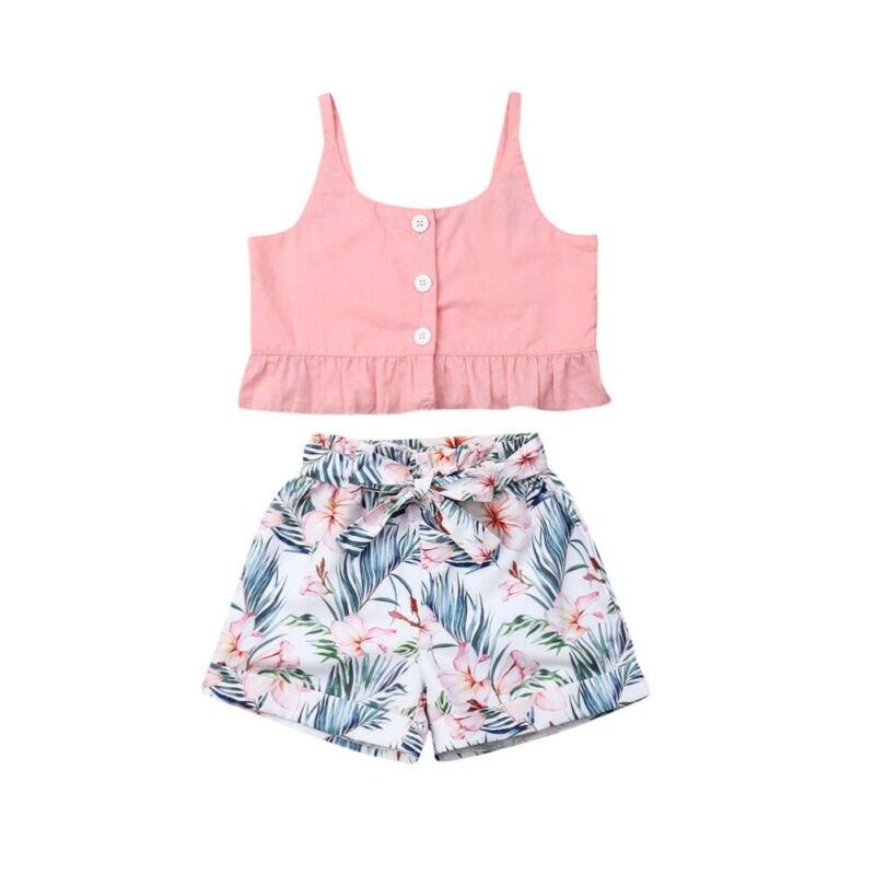 Verão da criança roupas da menina do bebê sem mangas botão estilingue tanque colheita topos flor imprimir calças curtas 2pcs roupas do miúdo verão