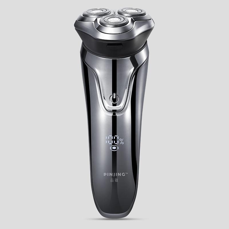 Então branco pinjing men lavável recarregável barbeador elétrico sem fio 3d inteligente controle navalha ipx7 à prova dwaterproof água barba máquina