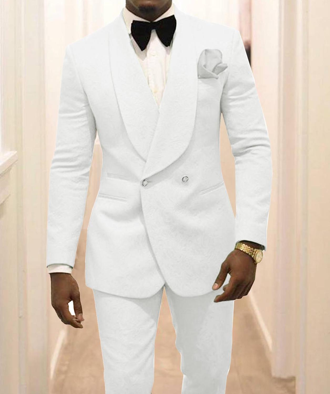 مخصص رفقاء الأبيض نمط العريس البدلات الرسمية شال طية صدر السترة الرجال الدعاوى 2 قطعة الزفاف أفضل رجل (سترة + سروال + التعادل) C922